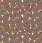 Lewis & Irene - Small Things Country Creatures - 6148 - Foxes on Brown  - ASM12.2 - Cotton Fabric